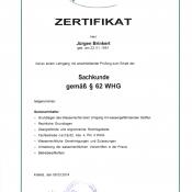 Zertifikat Sachkunde gem. §62 WHG