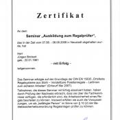 Zertifikat Ausbildung zum Regalprüfer