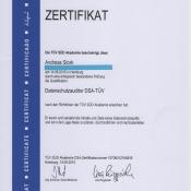 Zertifikat DSA-TÜV