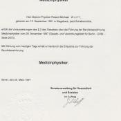 "Berufsbezeichnung ""Medizinphysiker"", Senat Berlin"