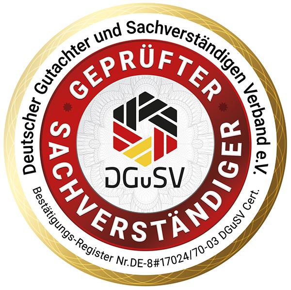 Siegel geprüfte/r Sachverständige/r DGuSV