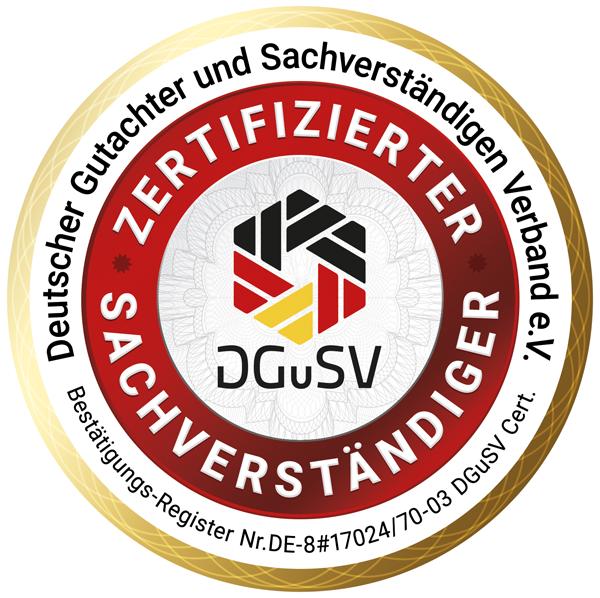 Siegel zertifizierte/r Sachverständige/r DGuSV