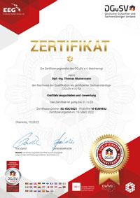 Gutachter Zertifikat