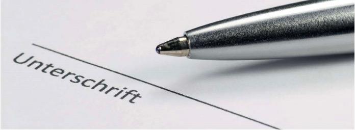 Schadensaufnahme. Kugelschreiber auf Blatt zur Unterschrift